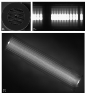 Rewritable self-assembled long-period gratings in photonic bandgap fibers using microparticles